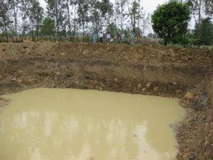 Bassin du village de Kitahaï dans lequel de l'eau a été trouvée