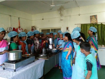 Group of woman training in food processing