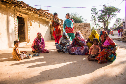women group in the street of an indian village